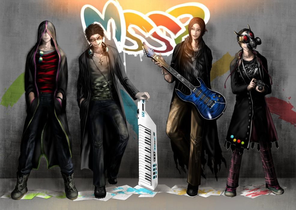 anime all male black hair boots brown hair camera cross graffiti guitar headphones instrument male mask mega nxxn necklace paper short hair sunglasses wallpaper