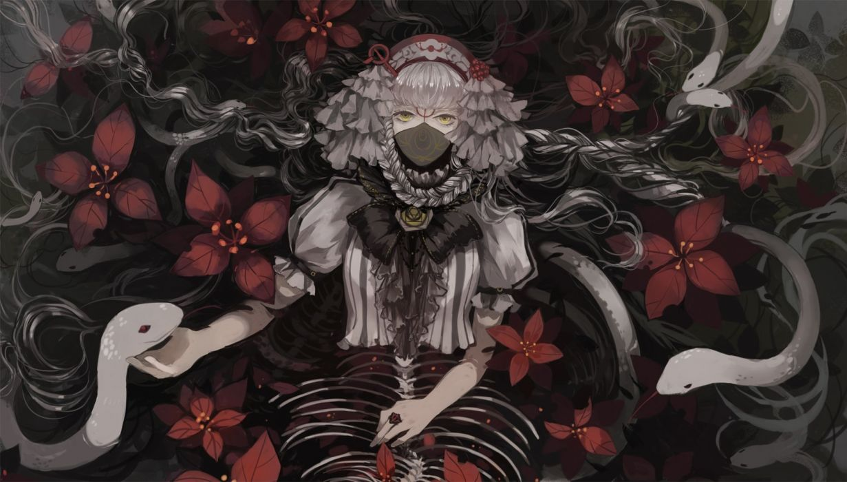 anime girl anime animal flowers gothic headband lily fairy mask pixiv fantasia snake water wallpaper