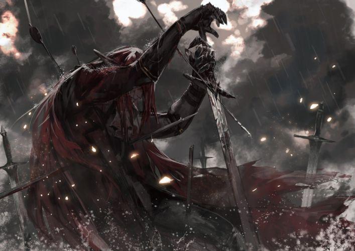 anime all male armor blood cape dark long hair male pixiv fantasia rain red hair sword water weapon wallpaper