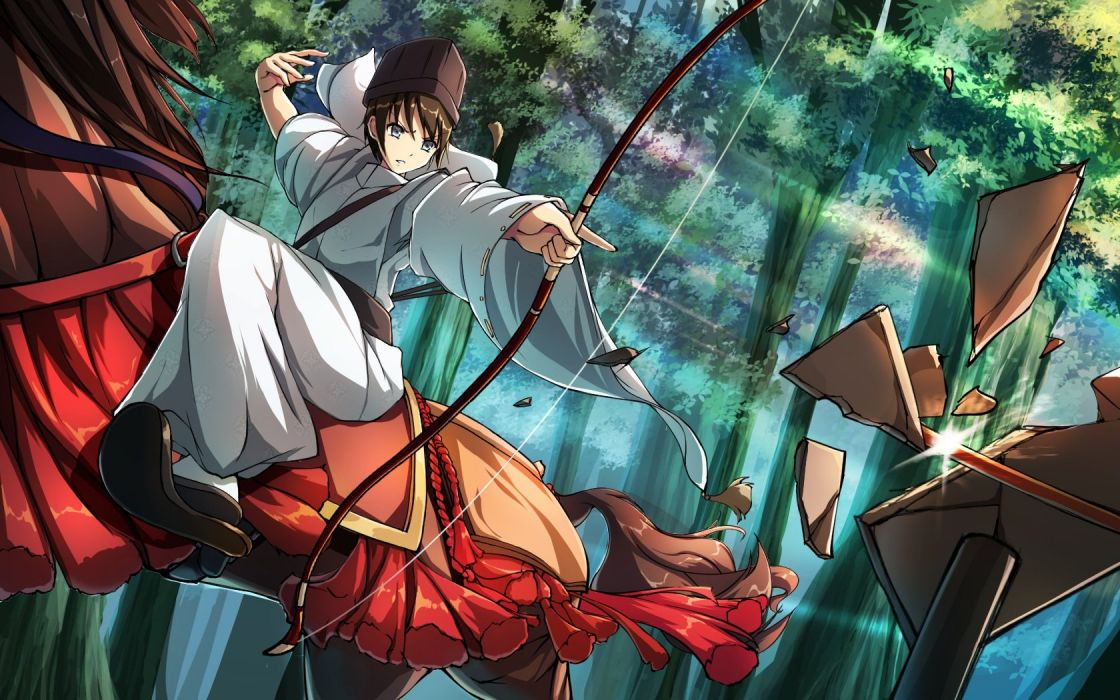 anime all male animal bow (weapon) brown hair forest gray eyes hat horse japanese clothes male original riburanomind short hair tree weapon wallpaper