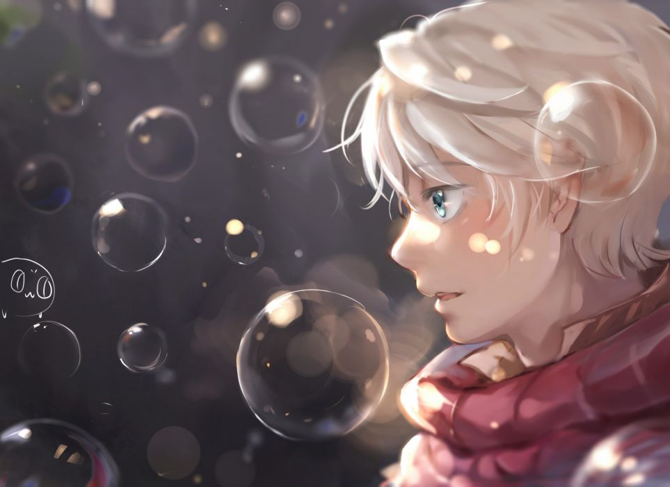 Anime Zero All Male Blue Eyes Bubbles Close F Gray Hair Male Short