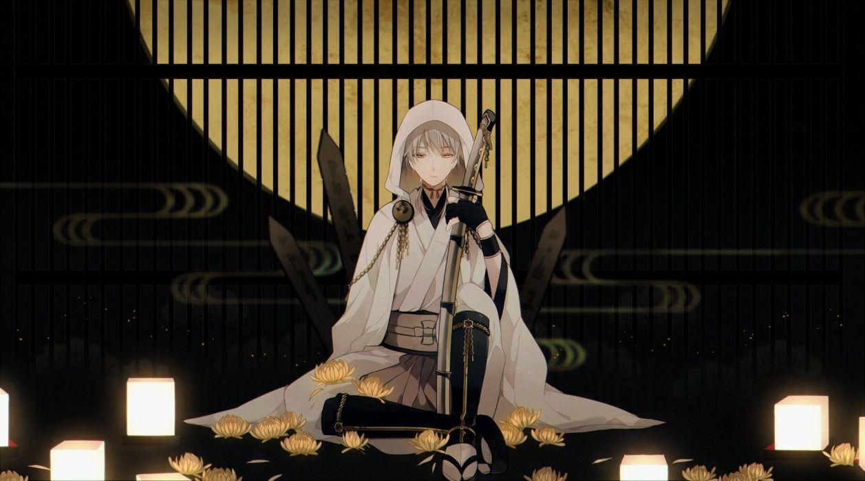 anime all male flowers gloves gray hair japanese clothes katana male moon orange eyes short hair sword touken ranbu weapon wristwear yori (y rsy) wallpaper