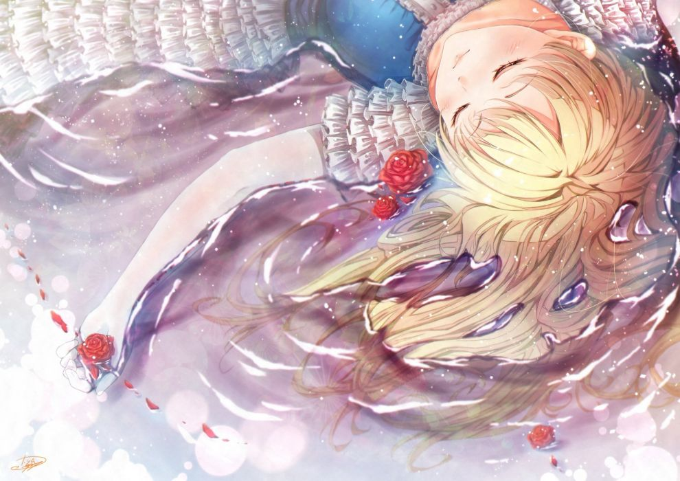 girl anime cyanomirahi dress original water wet wallpaper
