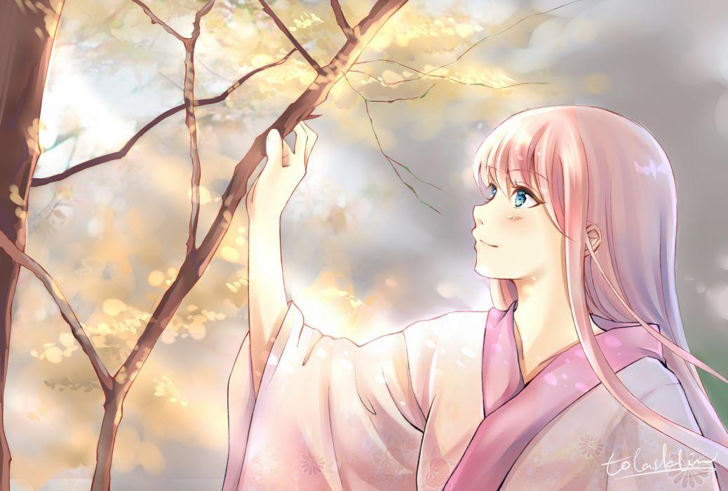 girl anime autumn blue eyes japanese clothes long hair megurine luka pink hair tolasakalin tree vocaloid wallpaper