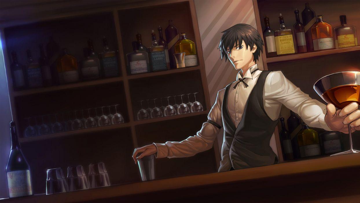 anime all male black hair blue eyes dark darker than black drink hei male short hair suit wentirtongmo wallpaper