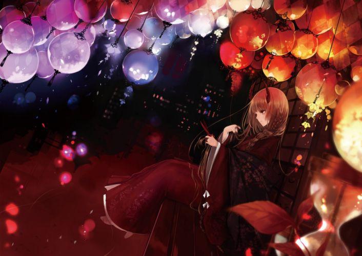 anime horns japanese clothes kimono leaves long hair original red eyes wallpaper