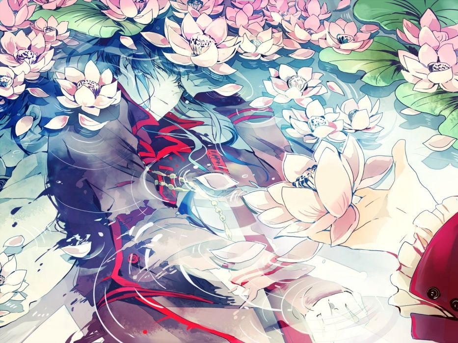 anime all male d gray-man flowers hagi kanda yuu male petals sleeping water wallpaper