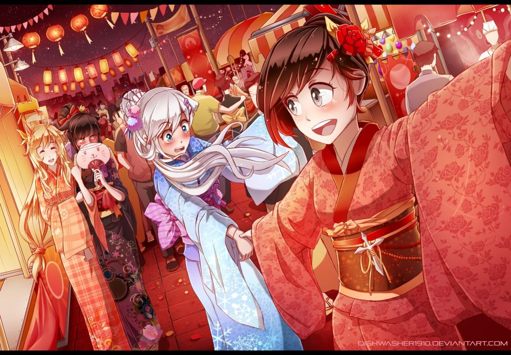 girl anime black hair blake belladonna blush festival group kimono night ruby rose watermark weiss schnee white hair long wallpaper