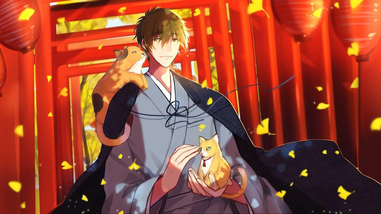 anime all male animal autumn cat free! japanese clothes leaves male tachibana makoto torii yuzhi wallpaper