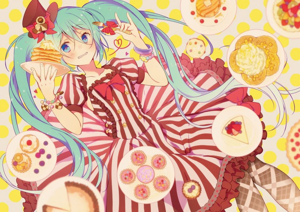 girl aqua hair blue eyes dress food hat hatsune miku twintails vocaloid wogura wristwear wallpaper