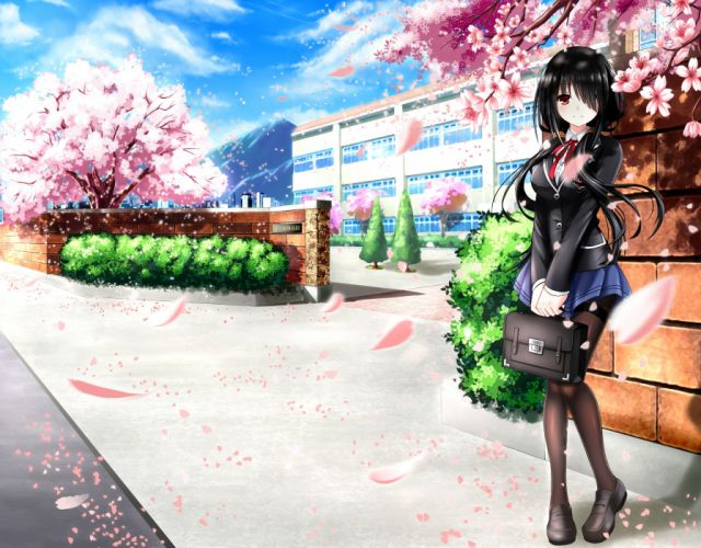 anime girl black hair blush long hair pantyhose red eyes sakura school bag seifuku sky smile tree wallpaper