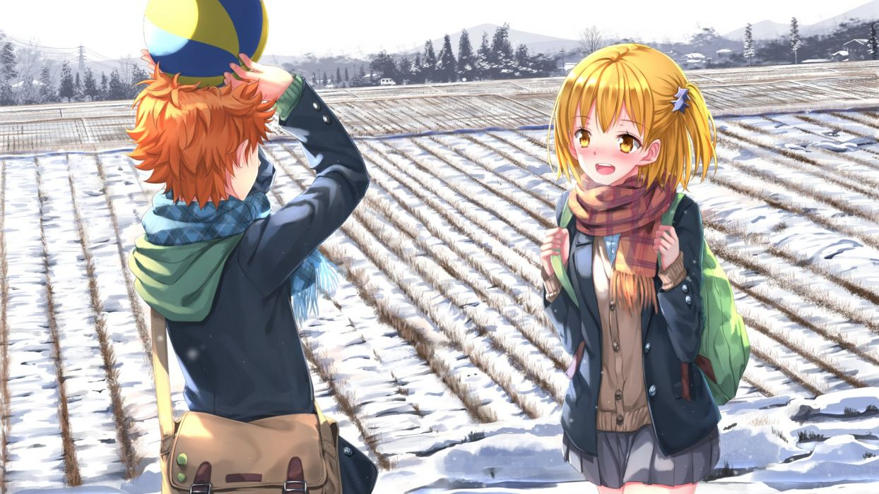 anime girl blonde hair blush brown hair hairpins happy hoodie scarf school bag seifuku short hair side tail sky snow stars tree wallpaper yellow eyes Haikyuu!! wallpaper