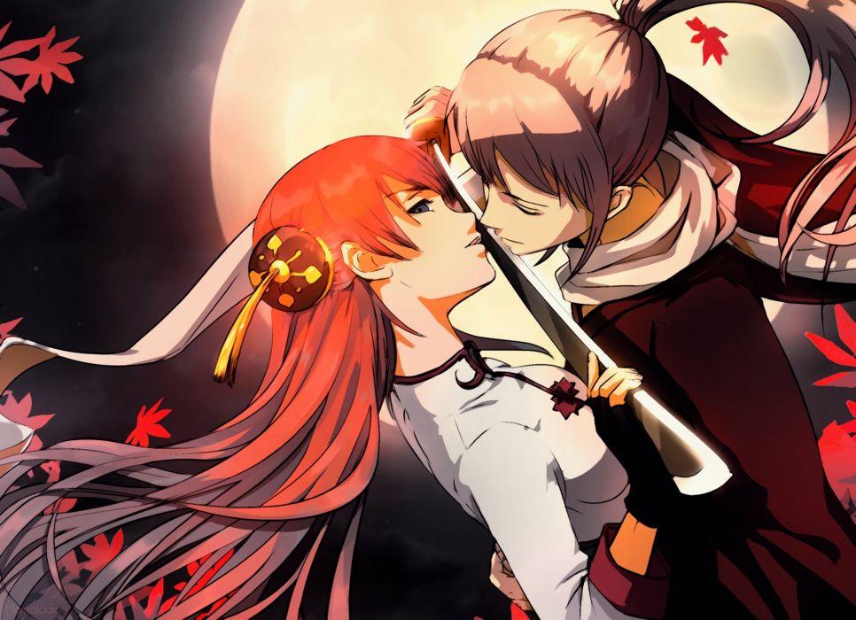 anime girl gintama blue eyes brown hair dress hug long hair moon night orange hair ponytail scarf sword couple love wallpaper