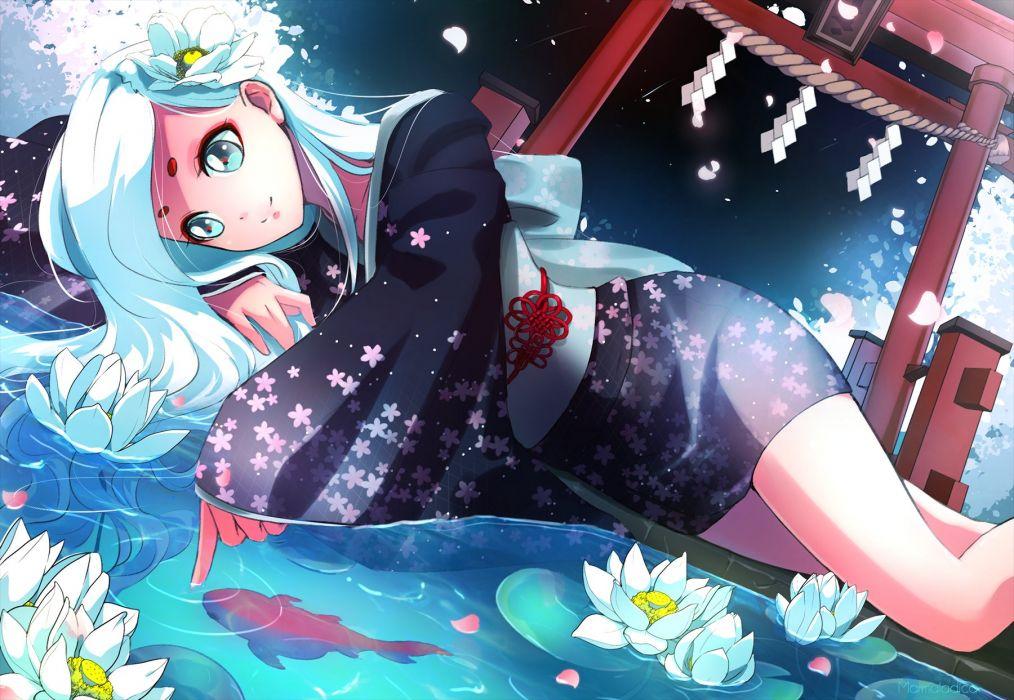 anime girl blue eyes flower long hair night short kimono smile water wet white hair wallpaper