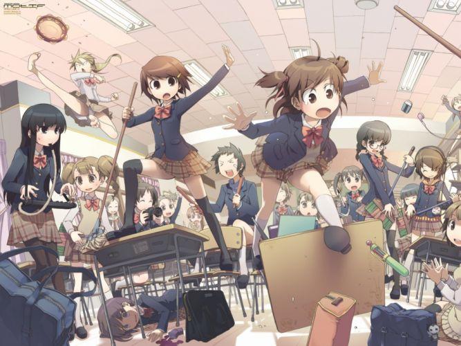 anime girl school uniform group friends beauty wallpaper