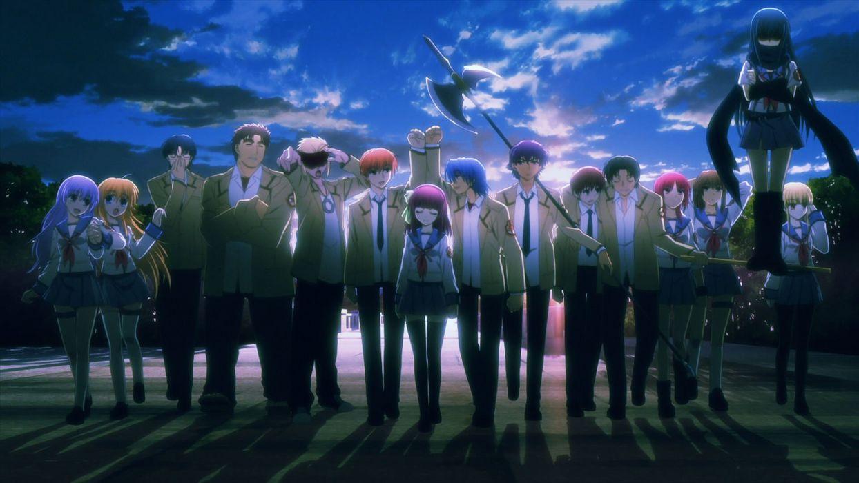 Anime Girl School Uniform Group Friends Beauty Angel Beats