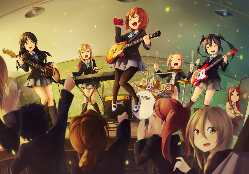 anime girl school uniform group friends beauty akama zenta akiyama mio chikada haruko hirasawa yui instrument k-on! nakano azusa saeki mika seifuku tainaka ritsu tsuchiya ai yamanaka sawako wallpaper