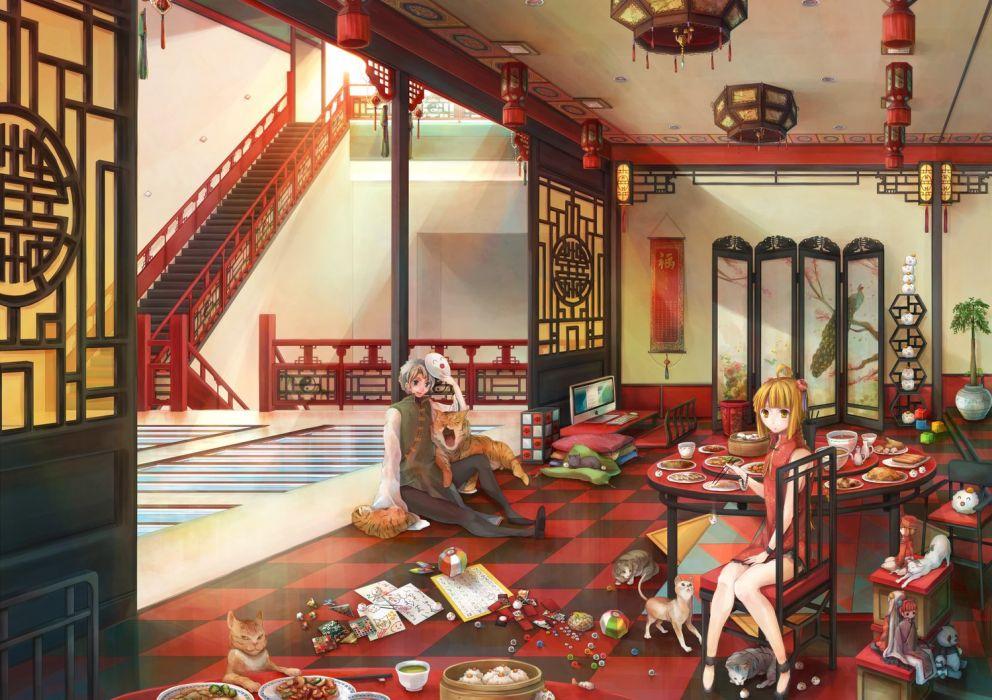 anime room girl boy animal cat cute group wallpaper