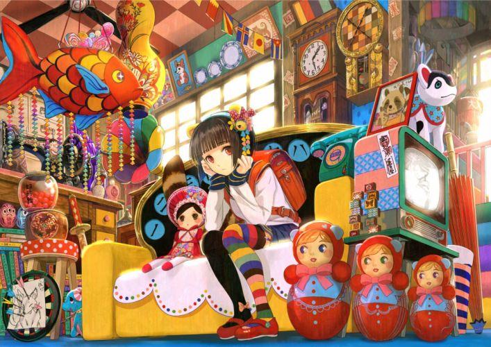 anime toys room school girl doll books wallpaper