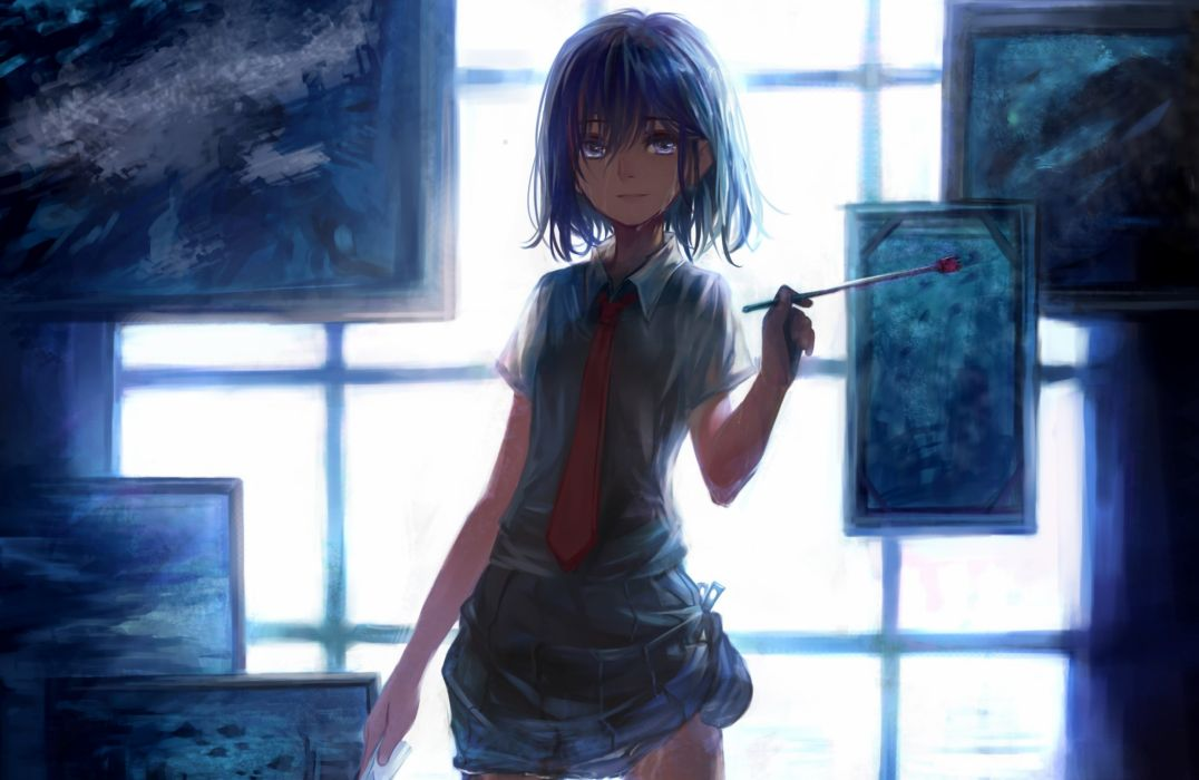 anime girl room cute blue artist wallpaper