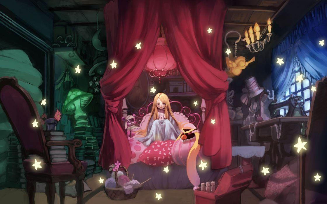 anime girl room cute stars blonde long hair wallpaper