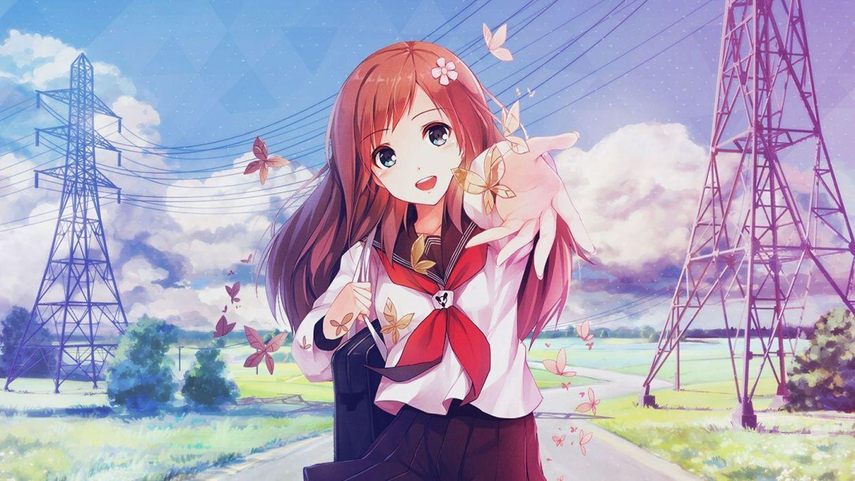 Original anime girl smile cute school uniform summer happy wallpaper