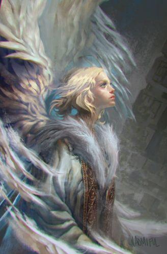 fantasy angel girl beautiful blonde short hair wallpaper