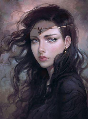 fantasy girl blue eyes long hair beautiful wallpaper