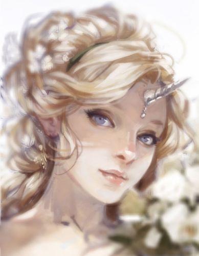 silver horn blonde princess fantasy woman blue eyes wallpaper