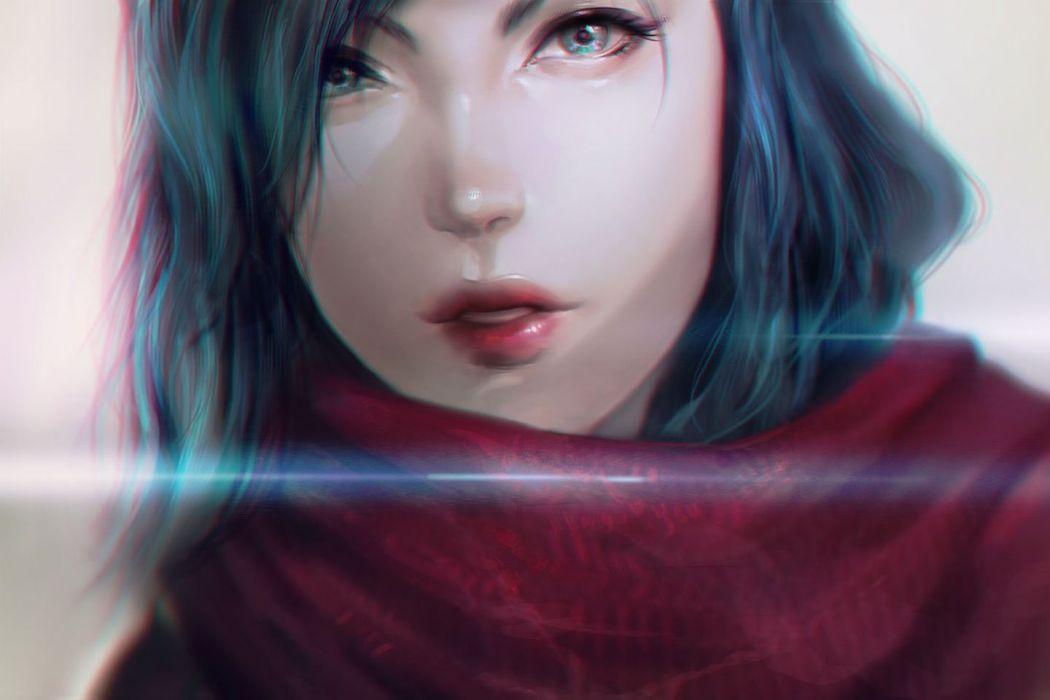 fantasy girl blue eyes hair short beautiful wallpaper
