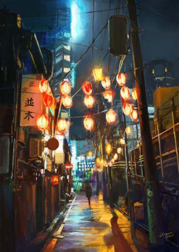 fantasy city light street chine wallpaper