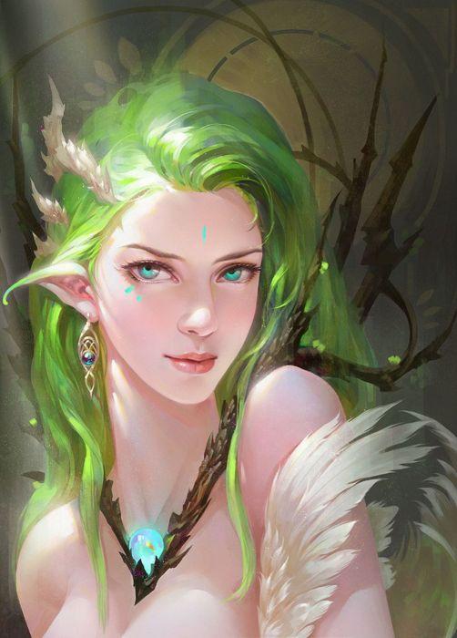 fantasy girl blue eyes hair long beautiful elf fairy green hair wallpaper