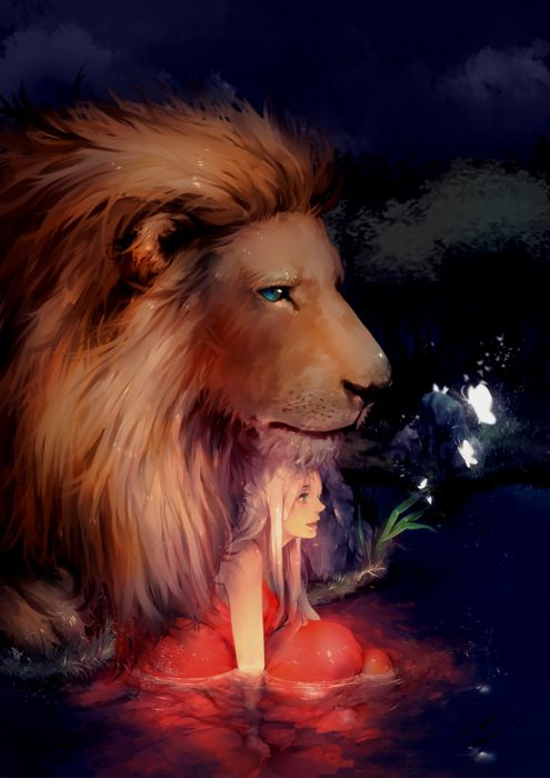 fantasy girl blue eyes hair long beautiful lion flower animal wallpaper