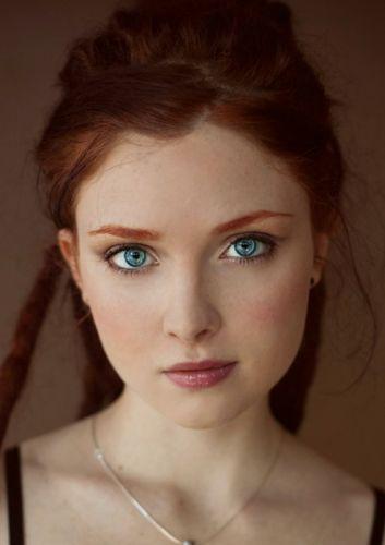 female red girl blue eyes hair long beautiful wallpaper