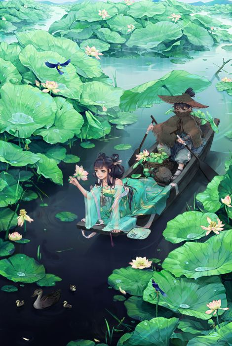 anime couple lotus water girl blue eyes hair long beautiful wallpaper