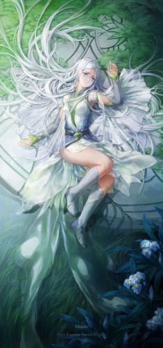 anime dress girl blue eyes hair long beautiful wallpaper