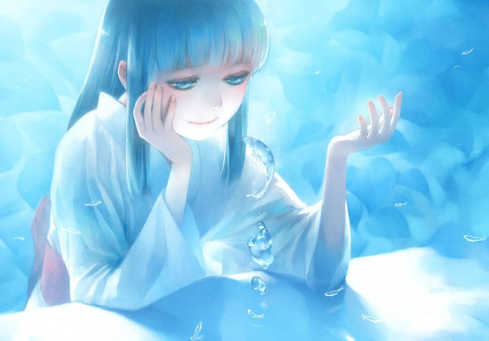 anime water girl blue eyes hair long beautiful wallpaper
