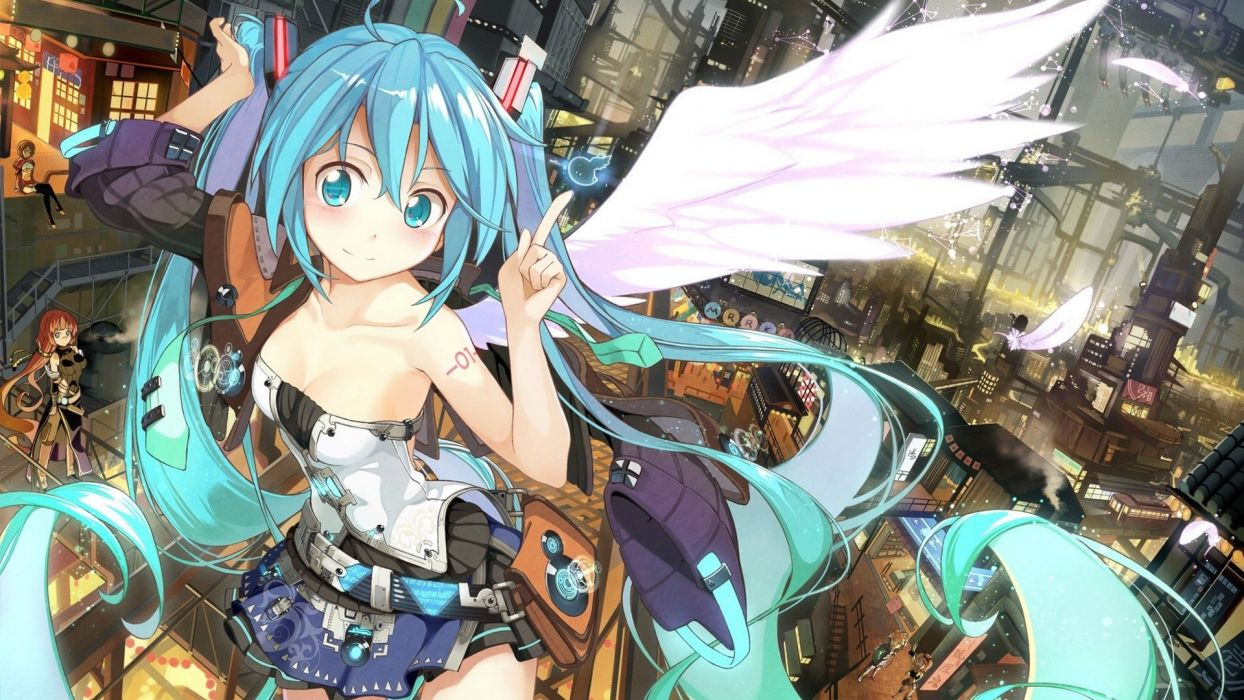 anime wings vocaloid girl blue eyes hair long beautiful wallpaper