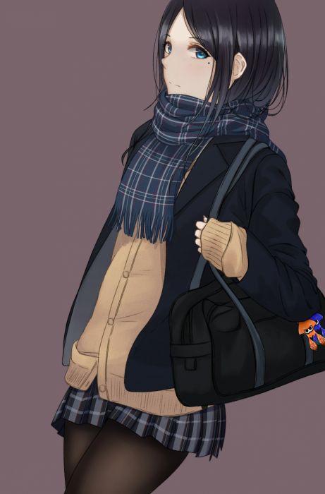 anime girl cute beautiful long hair beauty-mark-black-hair-blue wallpaper