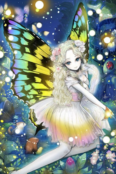 anime girl cute beautiful long hair dress flower wings fairy wallpaper