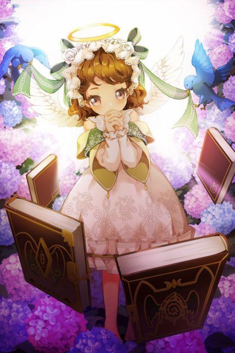 anime girl cute beautiful long hair dress flower book birds wallpaper