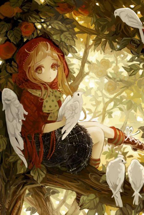 anime girl cute beautiful long hair dress flower birds wallpaper