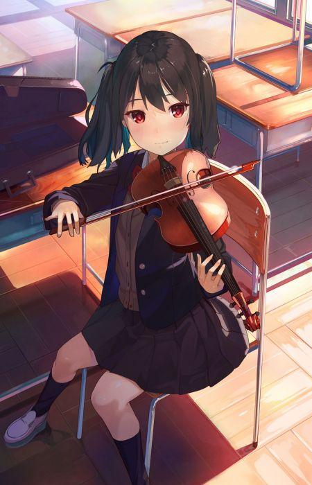 anime girl cute beautiful long hair school uniform violin music wallpaper