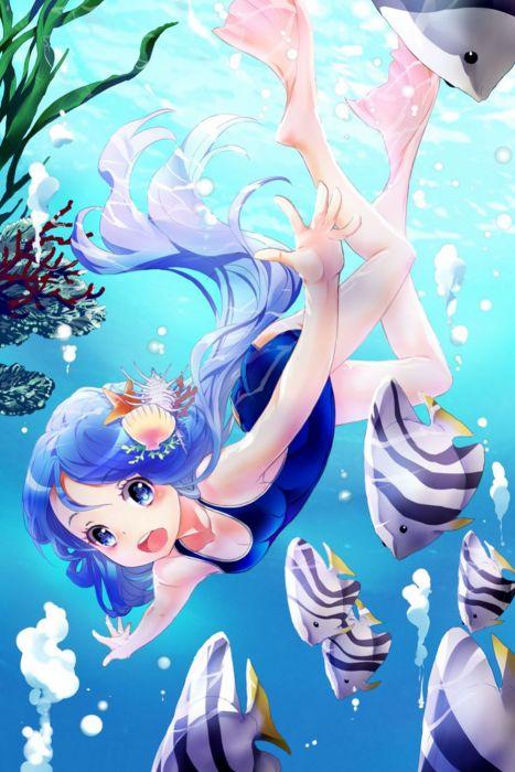 anime girl cute beautiful blue eyes blue hair fish wallpaper