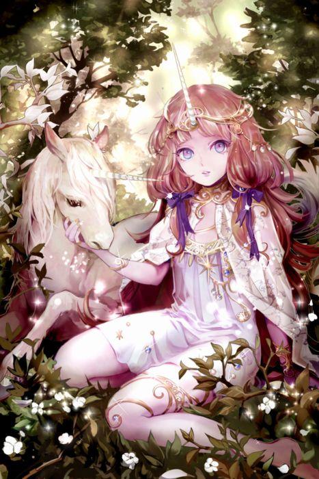 Anime Girl Cute Beautiful Long Hair Dress Flower Horn Animal Wallpaper