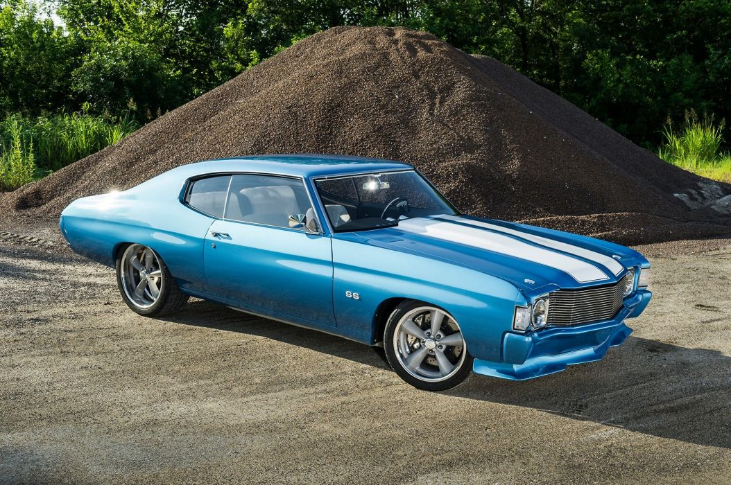Supercharged 1972 Chevrolet Chevelle coupe cars blue wallpaper