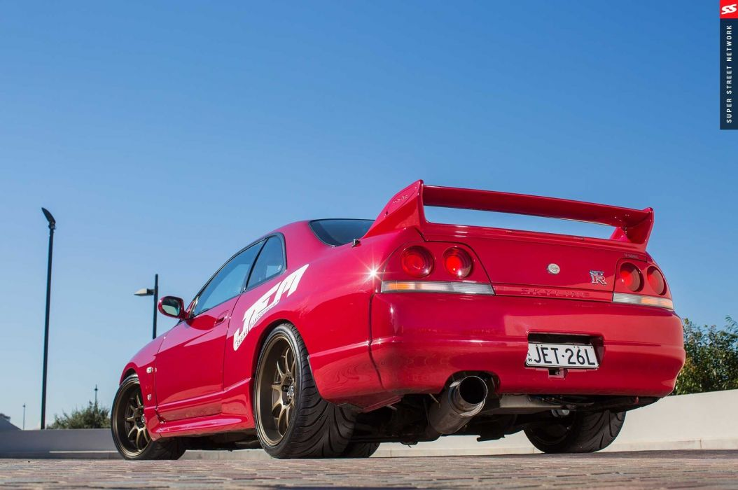 1998 Nissan Skyline GT-R R33 red modified cars wallpaper