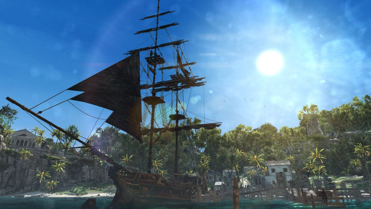 Assassin's Creed IV Black Flag Edward Kenwey Pirate Sword Ship Jackdaw Water Sea Bay Great Inagua Harbor Sun wallpaper