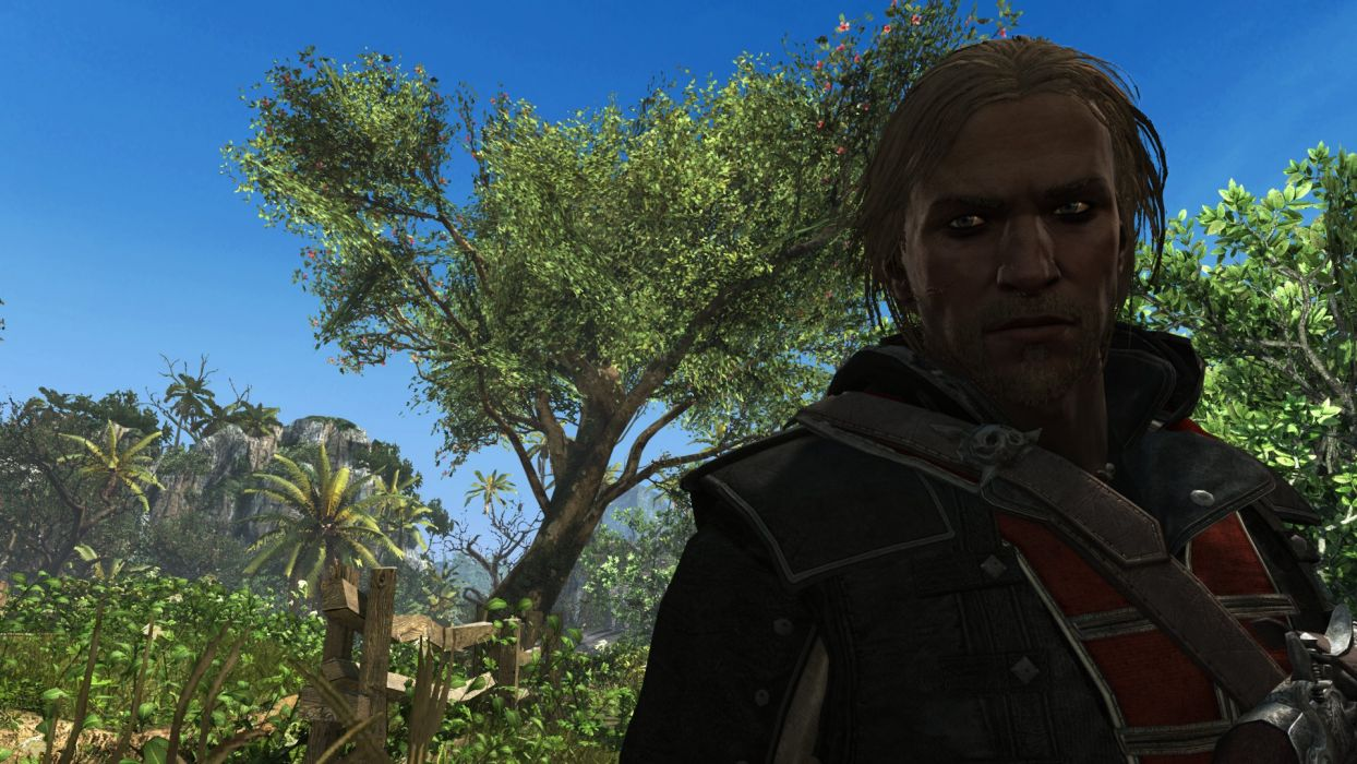 Assassin's Creed IV Black Flag Edward Kenwey Pirate Blond Eyes Skull Tree Sky Staring wallpaper