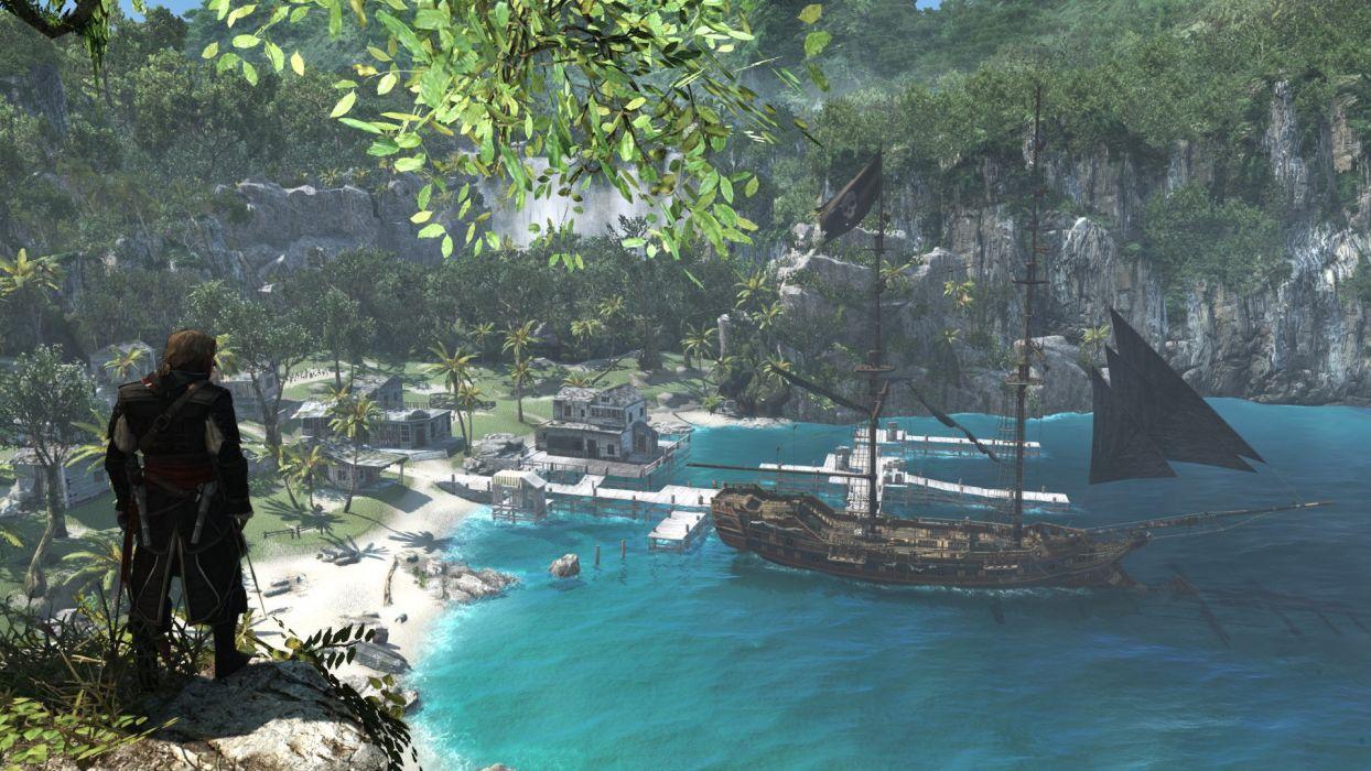 Assassin's Creed IV Black Flag Edward Kenwey Pirate Pistol Gun Sword Ship Jackdaw Water Sea Bay Great Inagua Harbor wallpaper